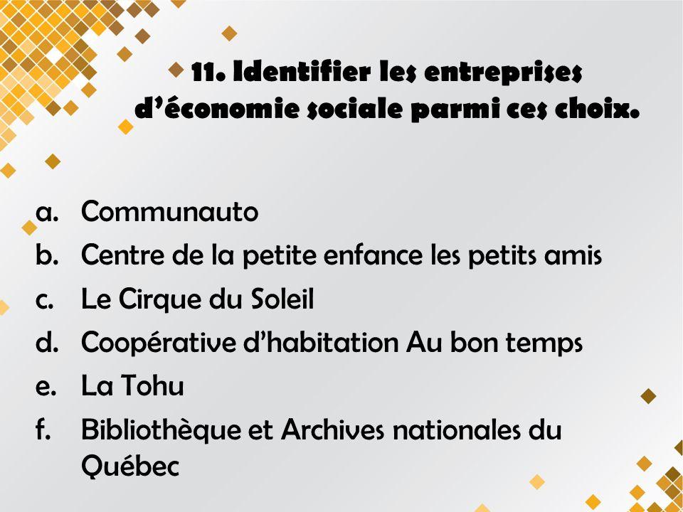 11. Identifier les entreprises déconomie sociale parmi ces choix.