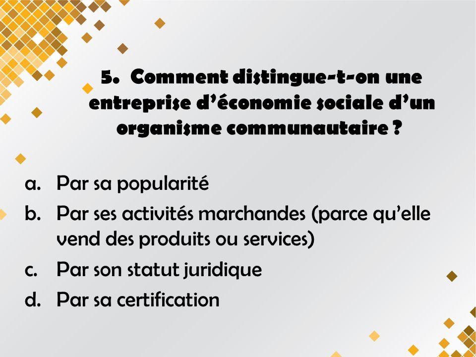 5.Comment distingue-t-on une entreprise déconomie sociale dun organisme communautaire .