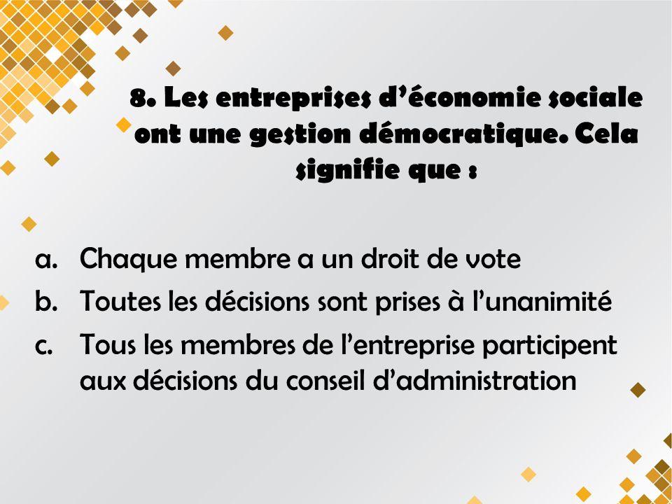 8. Les entreprises déconomie sociale ont une gestion démocratique.