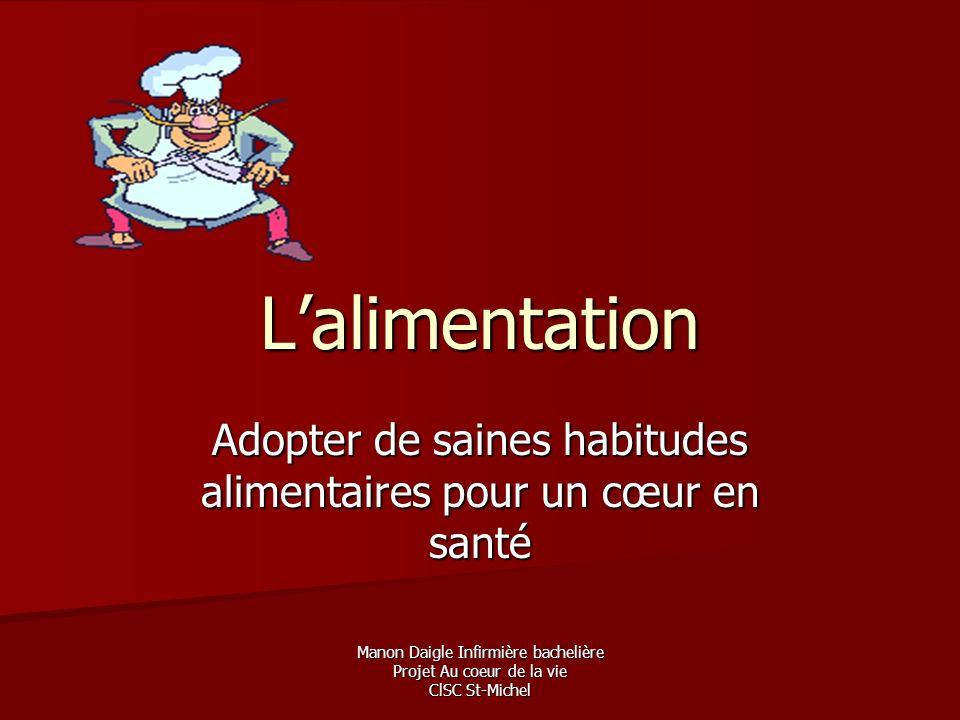 Manon Daigle Infirmière bachelière Projet Au coeur de la vie ClSC St-Michel Lalimentation Adopter de saines habitudes alimentaires pour un cœur en san