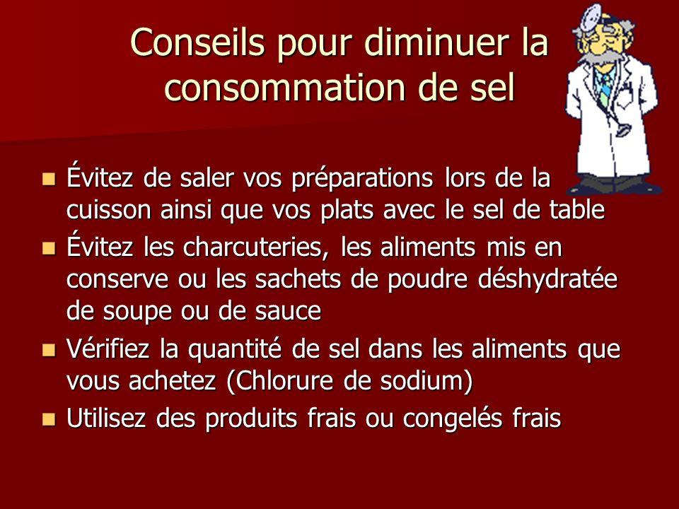 Conseils pour diminuer la consommation de sel Évitez de saler vos préparations lors de la cuisson ainsi que vos plats avec le sel de table Évitez de s