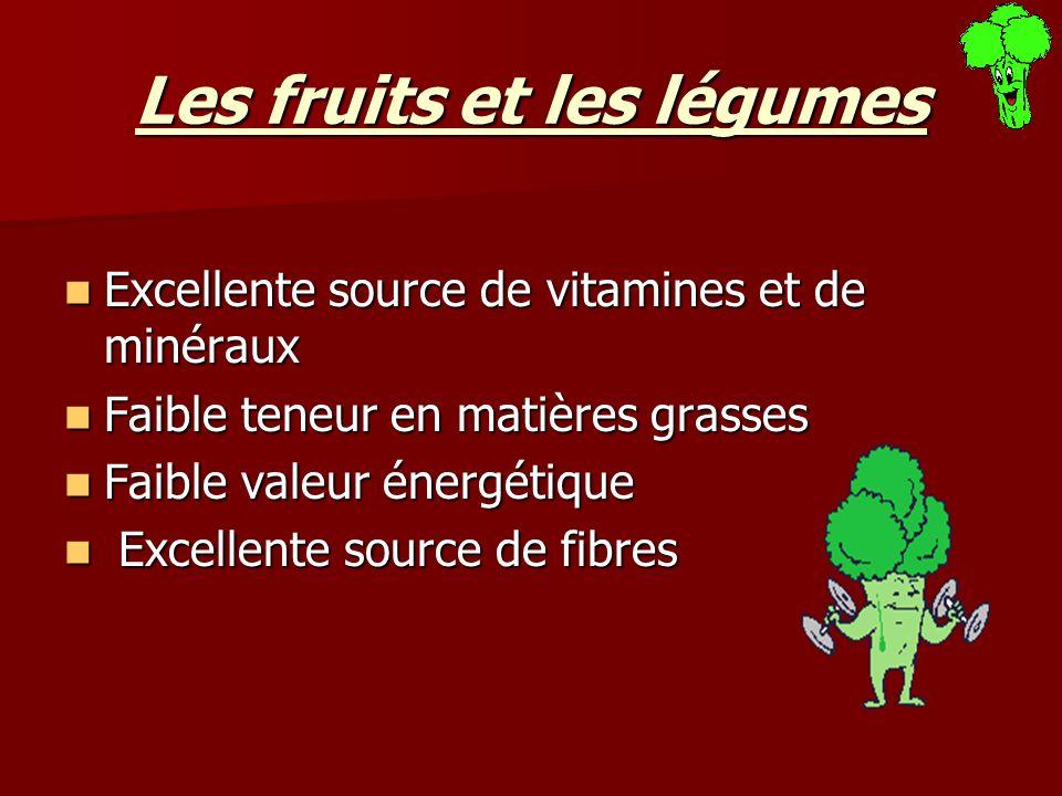 Les fruits et les légumes Excellente source de vitamines et de minéraux Excellente source de vitamines et de minéraux Faible teneur en matières grasse