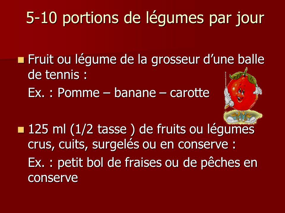 5-10 portions de légumes par jour 5-10 portions de légumes par jour Fruit ou légume de la grosseur dune balle de tennis : Fruit ou légume de la grosse