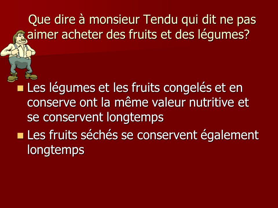 Que dire à monsieur Tendu qui dit ne pas aimer acheter des fruits et des légumes? Que dire à monsieur Tendu qui dit ne pas aimer acheter des fruits et