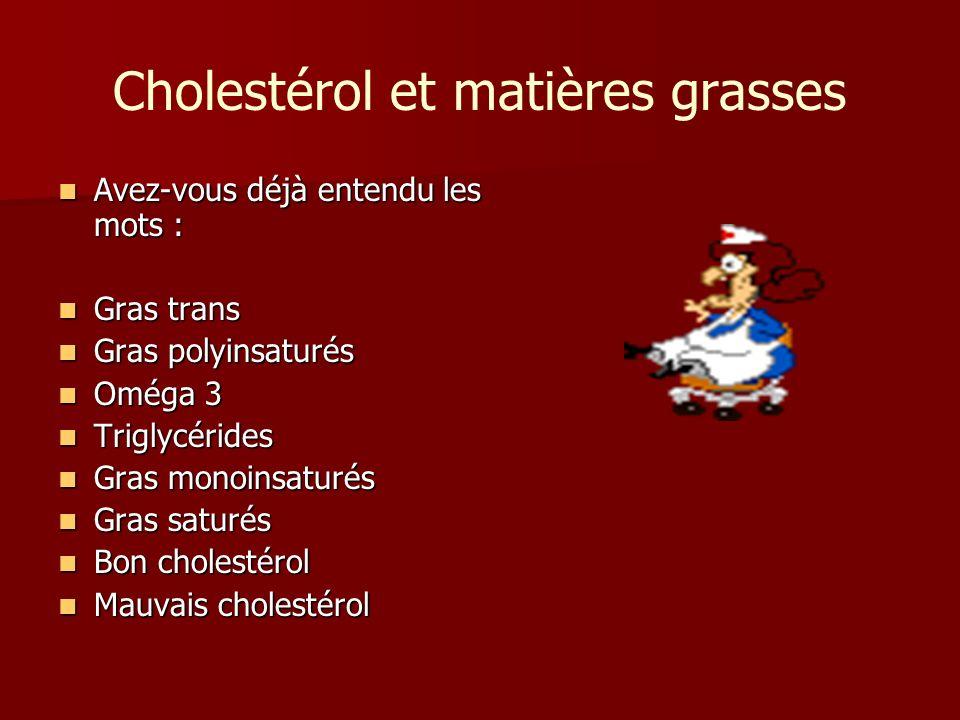 Cholestérol et matières grasses Avez-vous déjà entendu les mots : Avez-vous déjà entendu les mots : Gras trans Gras trans Gras polyinsaturés Gras poly