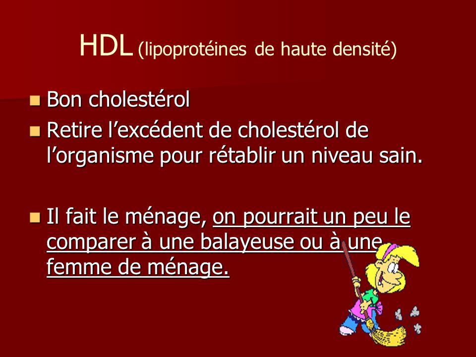 HDL (lipoprotéines de haute densité) Bon cholestérol Bon cholestérol Retire lexcédent de cholestérol de lorganisme pour rétablir un niveau sain. Retir