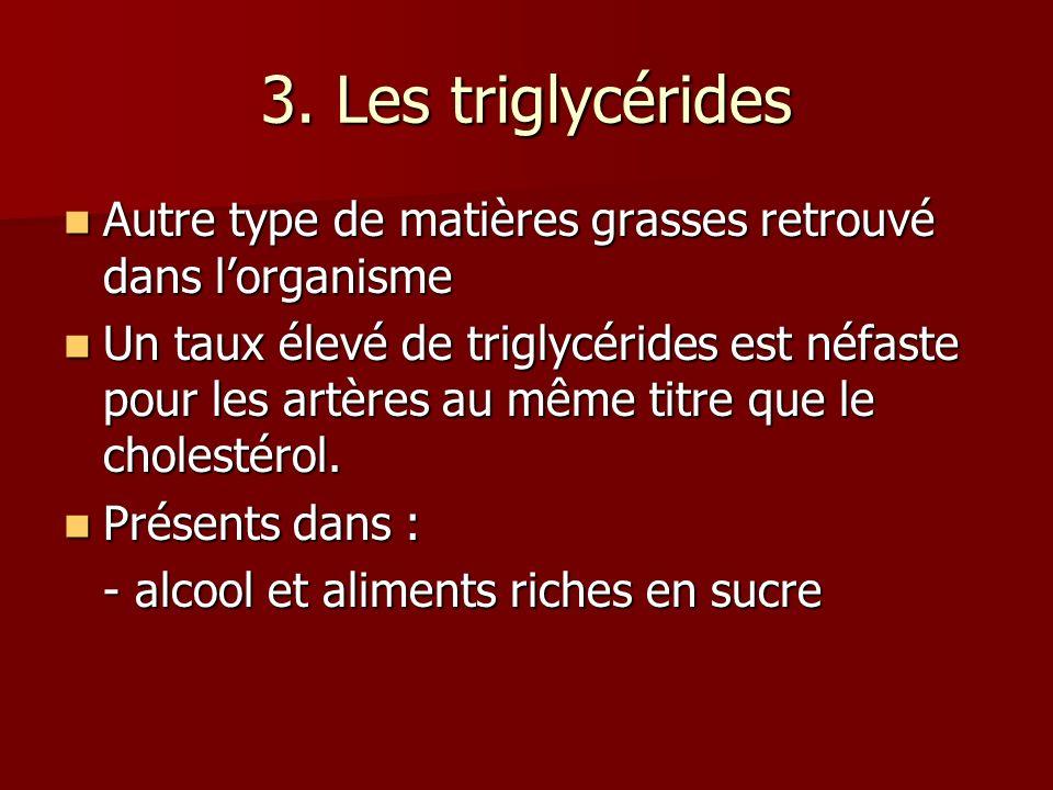 3. Les triglycérides Autre type de matières grasses retrouvé dans lorganisme Autre type de matières grasses retrouvé dans lorganisme Un taux élevé de