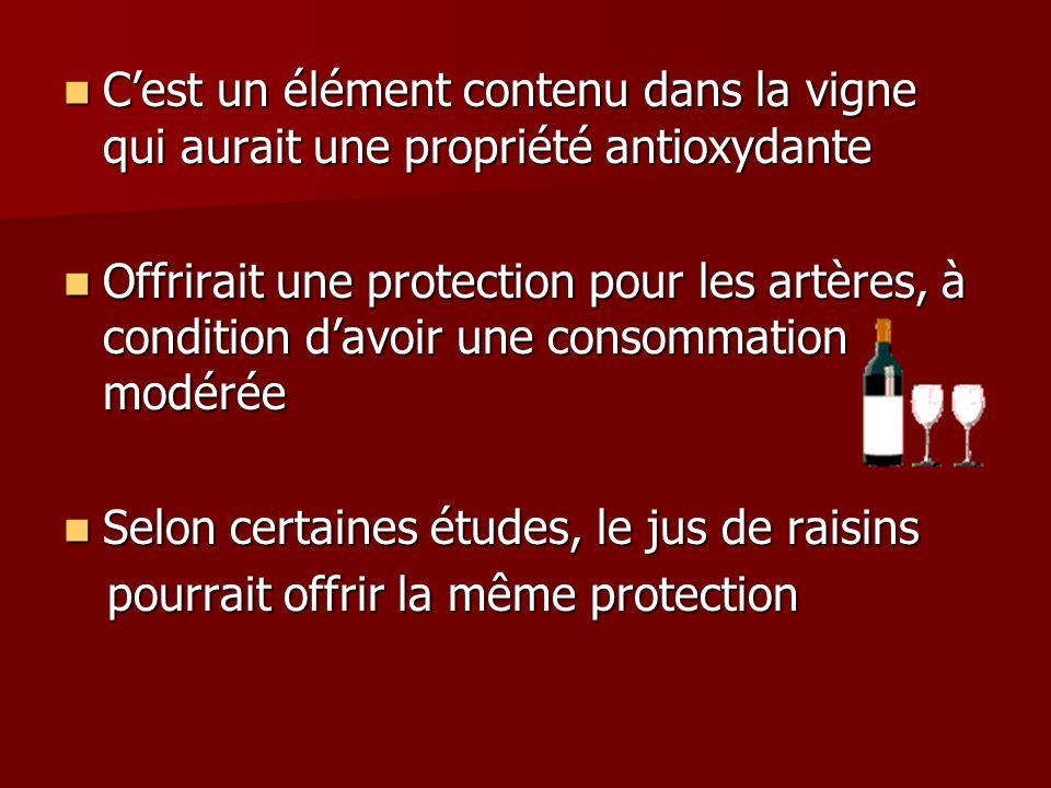 Cest un élément contenu dans la vigne qui aurait une propriété antioxydante Cest un élément contenu dans la vigne qui aurait une propriété antioxydant