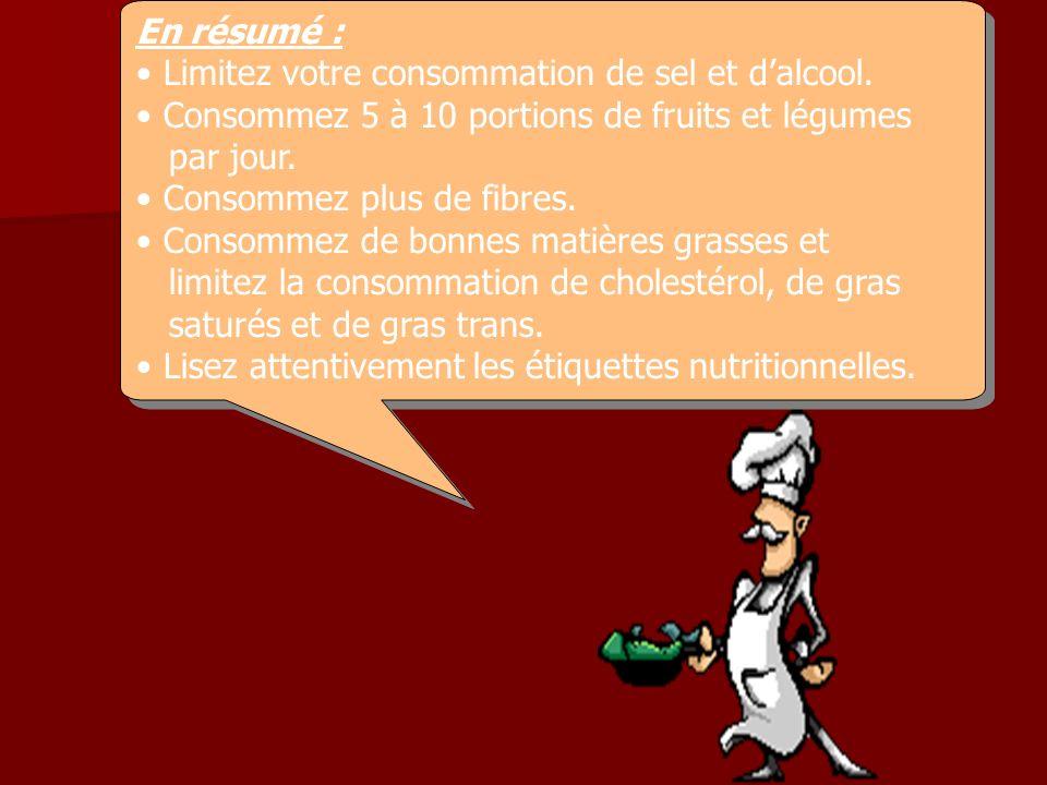 En résumé : Limitez votre consommation de sel et dalcool. Consommez 5 à 10 portions de fruits et légumes par jour. Consommez plus de fibres. Consommez