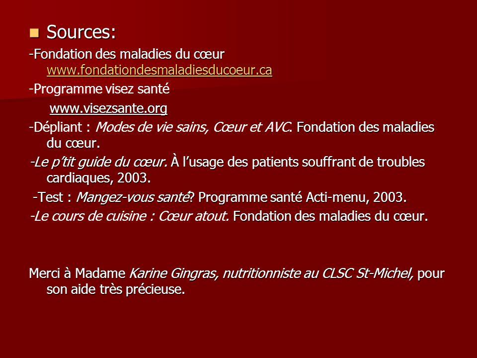 Sources: Sources: -Fondation des maladies du cœur www.fondationdesmaladiesducoeur.ca www.fondationdesmaladiesducoeur.ca -Programme visez santé www.vis