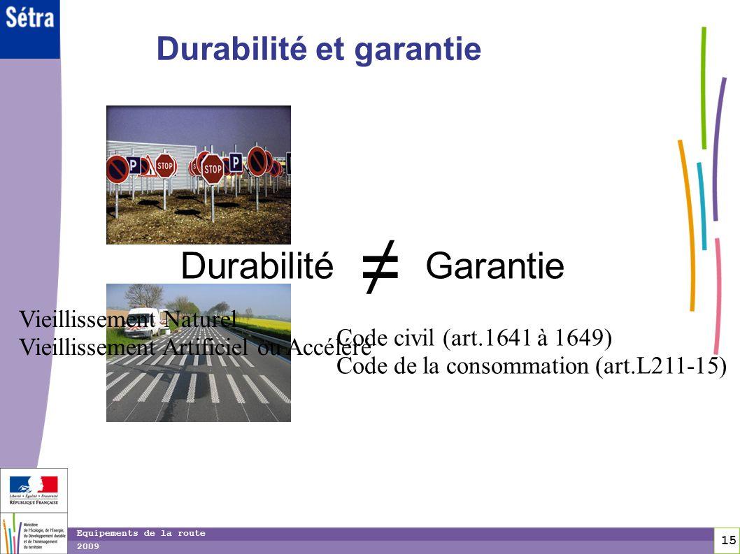 15 15 Equipements de la route 2009 DurabilitéGarantie Durabilité et garantie Vieillissement Naturel Vieillissement Artificiel ou Accéléré Code civil (