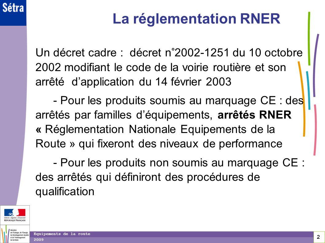 2 2 2 Equipements de la route 2009 La réglementation RNER Un décret cadre : décret n°2002-1251 du 10 octobre 2002 modifiant le code de la voirie routi