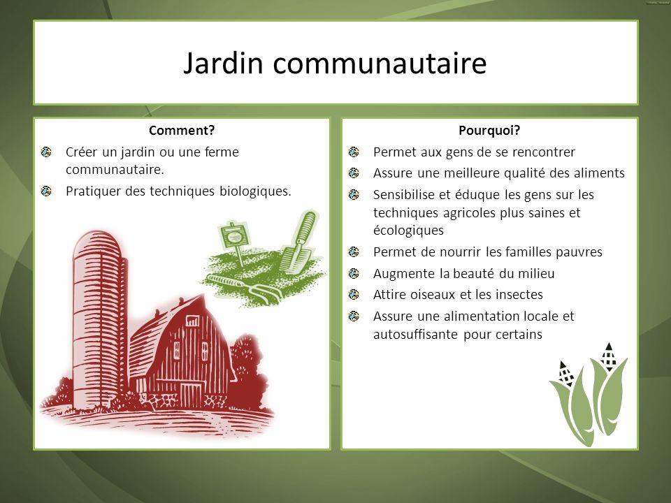 Jardin communautaire Comment? Créer un jardin ou une ferme communautaire. Pratiquer des techniques biologiques. Pourquoi? Permet aux gens de se rencon