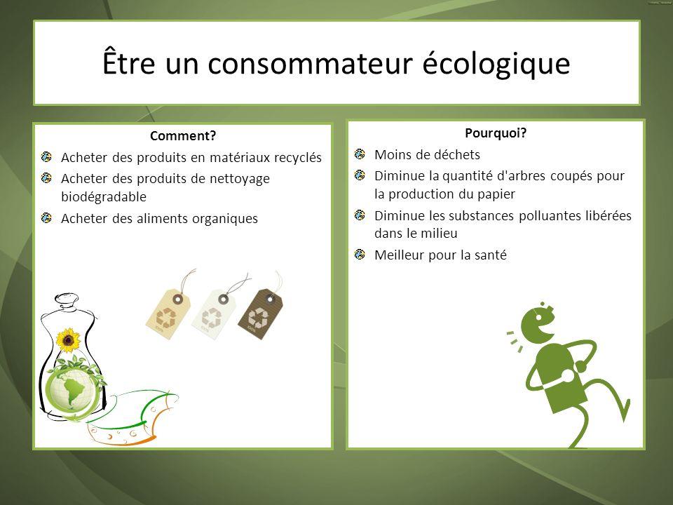 Comment? Acheter des produits en matériaux recyclés Acheter des produits de nettoyage biodégradable Acheter des aliments organiques Pourquoi? Moins de