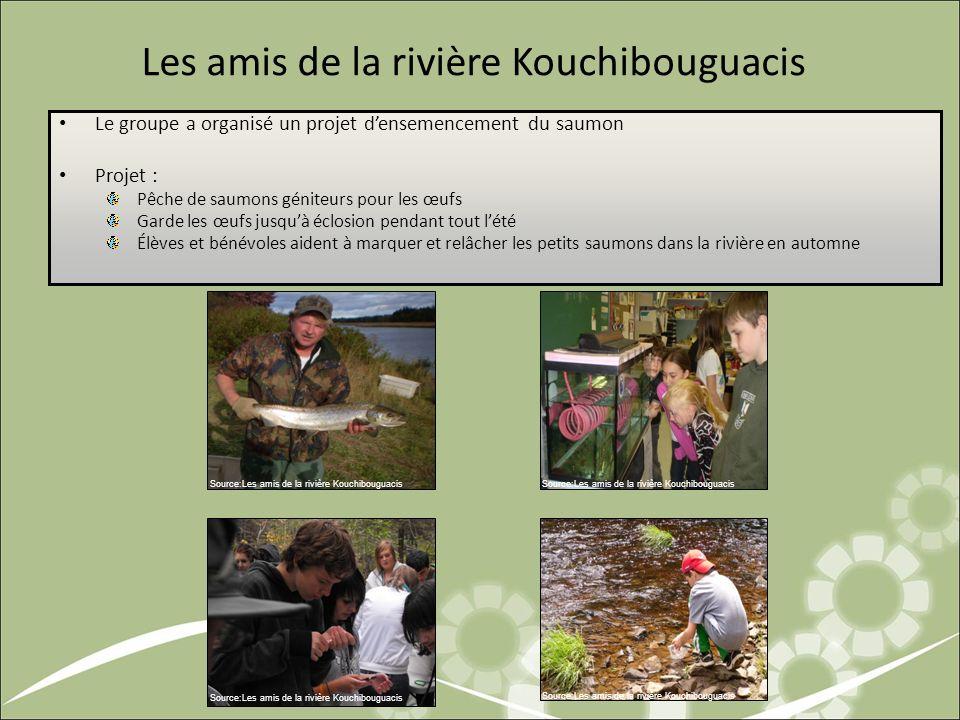 Les amis de la rivière Kouchibouguacis Le groupe a organisé un projet densemencement du saumon Projet : Pêche de saumons géniteurs pour les œufs Garde