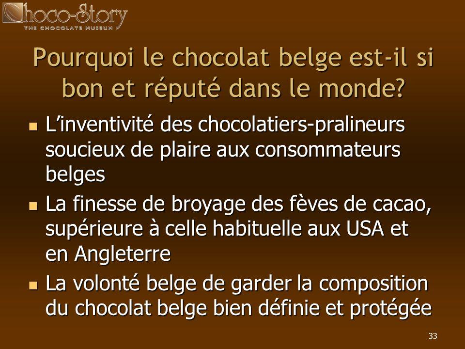 33 Pourquoi le chocolat belge est-il si bon et réputé dans le monde? Linventivité des chocolatiers-pralineurs soucieux de plaire aux consommateurs bel