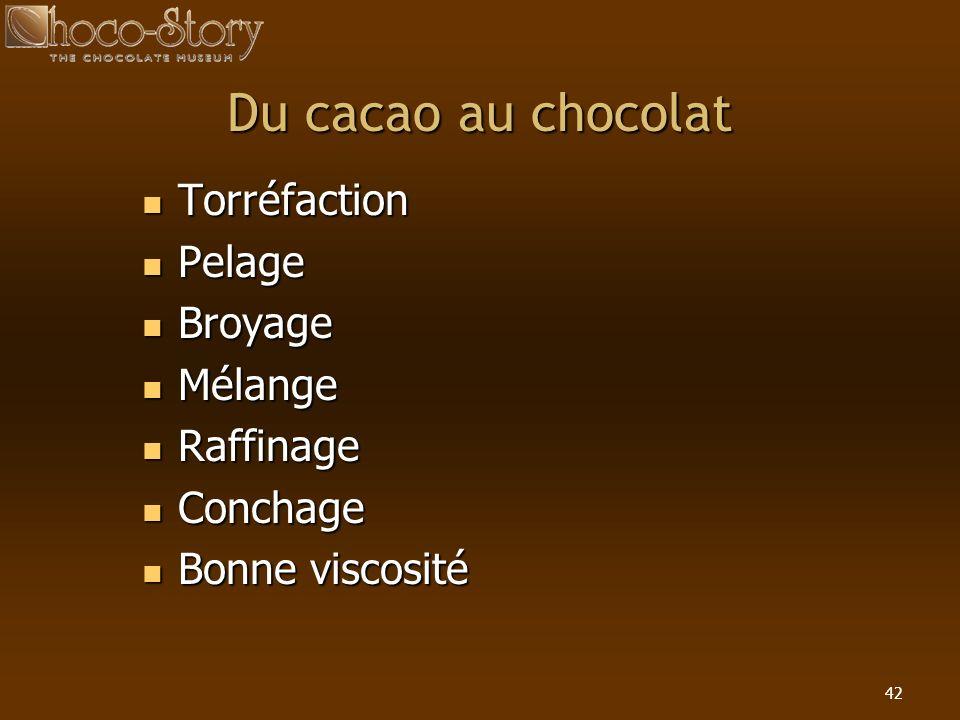 42 Du cacao au chocolat Torréfaction Torréfaction Pelage Pelage Broyage Broyage Mélange Mélange Raffinage Raffinage Conchage Conchage Bonne viscosité