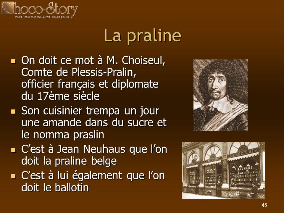45 La praline On doit ce mot à M. Choiseul, Comte de Plessis-Pralin, officier français et diplomate du 17ème siècle On doit ce mot à M. Choiseul, Comt