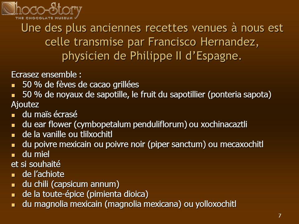 7 Une des plus anciennes recettes venues à nous est celle transmise par Francisco Hernandez, physicien de Philippe II dEspagne. Ecrasez ensemble : 50