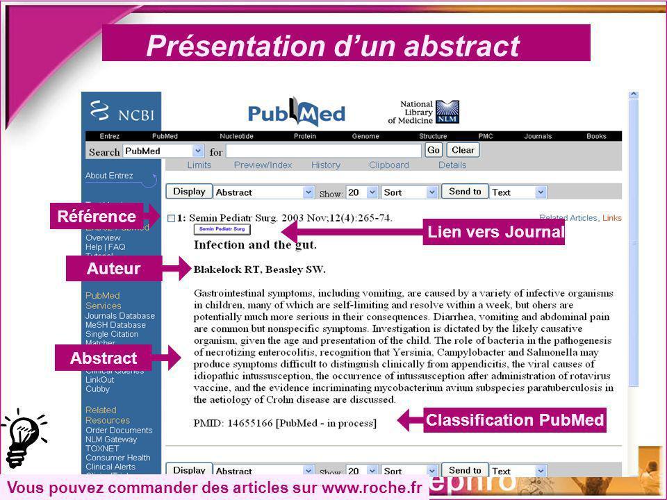 Présentation dun abstract Référence Auteur Abstract Lien vers Journal Classification PubMed Vous pouvez commander des articles sur www.roche.fr