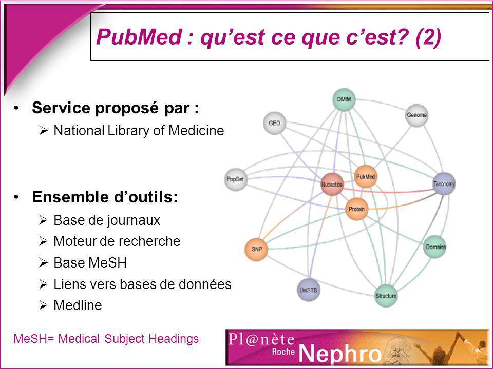 PubMed : quest ce que cest? (2) Service proposé par : National Library of Medicine Ensemble doutils: Base de journaux Moteur de recherche Base MeSH Li