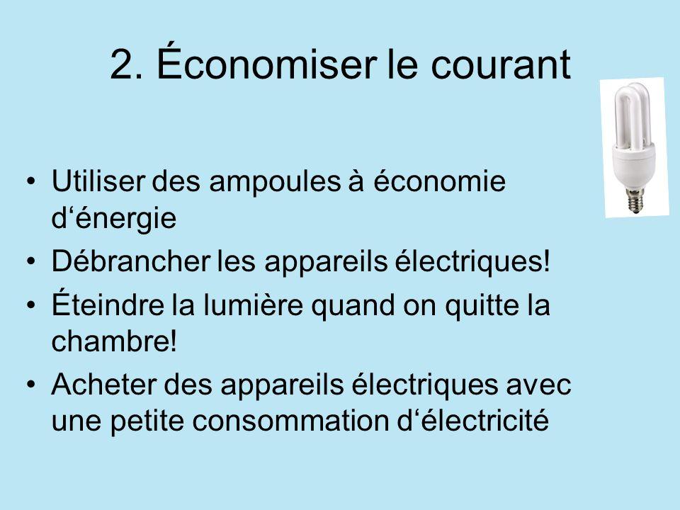 2. Économiser le courant Utiliser des ampoules à économie dénergie Débrancher les appareils électriques! Éteindre la lumière quand on quitte la chambr