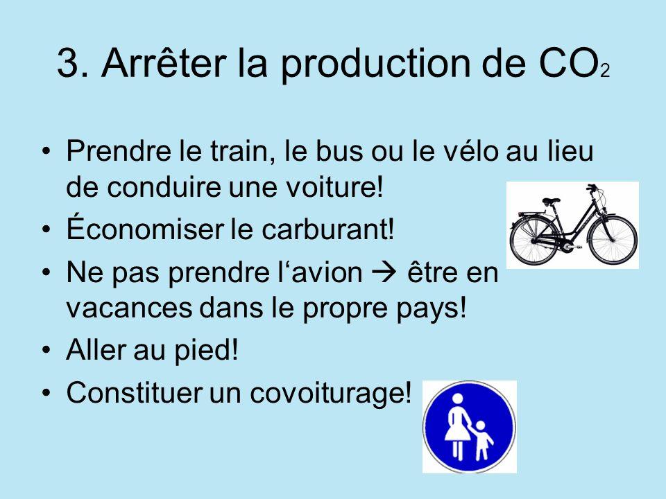 3. Arrêter la production de CO 2 Prendre le train, le bus ou le vélo au lieu de conduire une voiture! Économiser le carburant! Ne pas prendre lavion ê