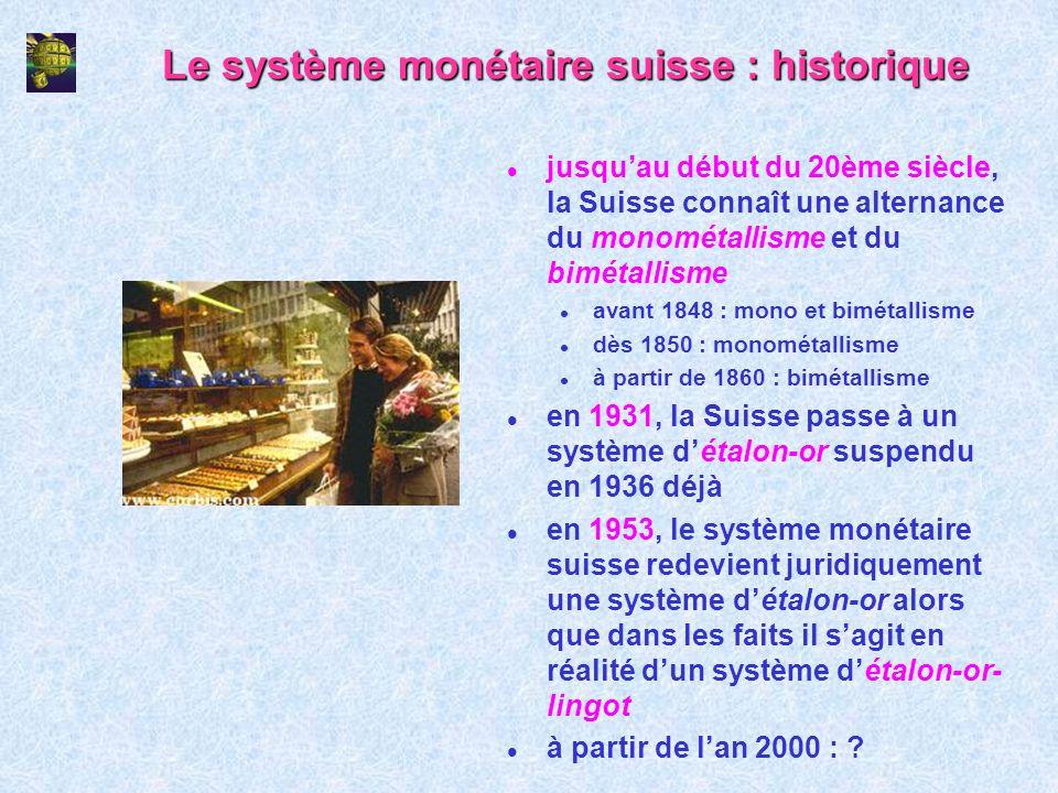 Le système monétaire suisse : historique l jusquau début du 20ème siècle, la Suisse connaît une alternance du monométallisme et du bimétallisme l avan