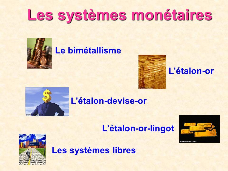 Les systèmes monétaires Le bimétallisme Létalon-or Létalon-devise-or Létalon-or-lingot Les systèmes libres