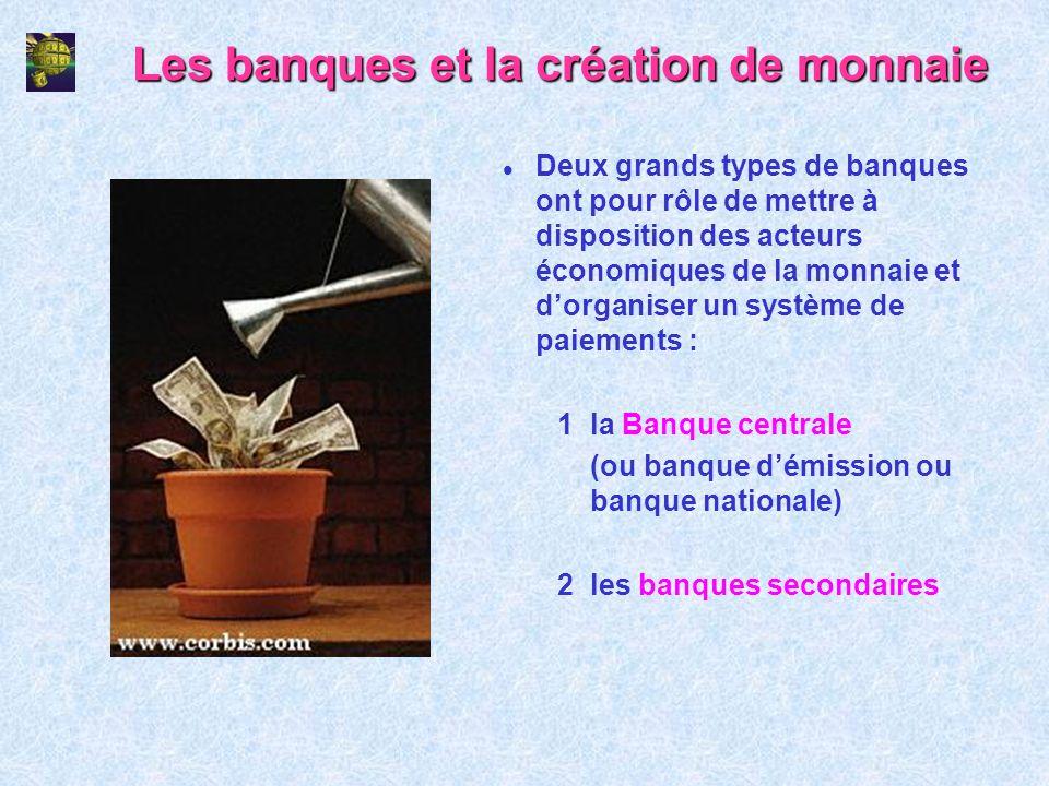 Les banques et la création de monnaie l Deux grands types de banques ont pour rôle de mettre à disposition des acteurs économiques de la monnaie et do