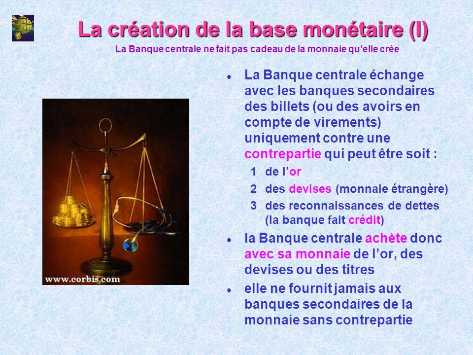 La création de la base monétaire (I) l La Banque centrale échange avec les banques secondaires des billets (ou des avoirs en compte de virements) uniq