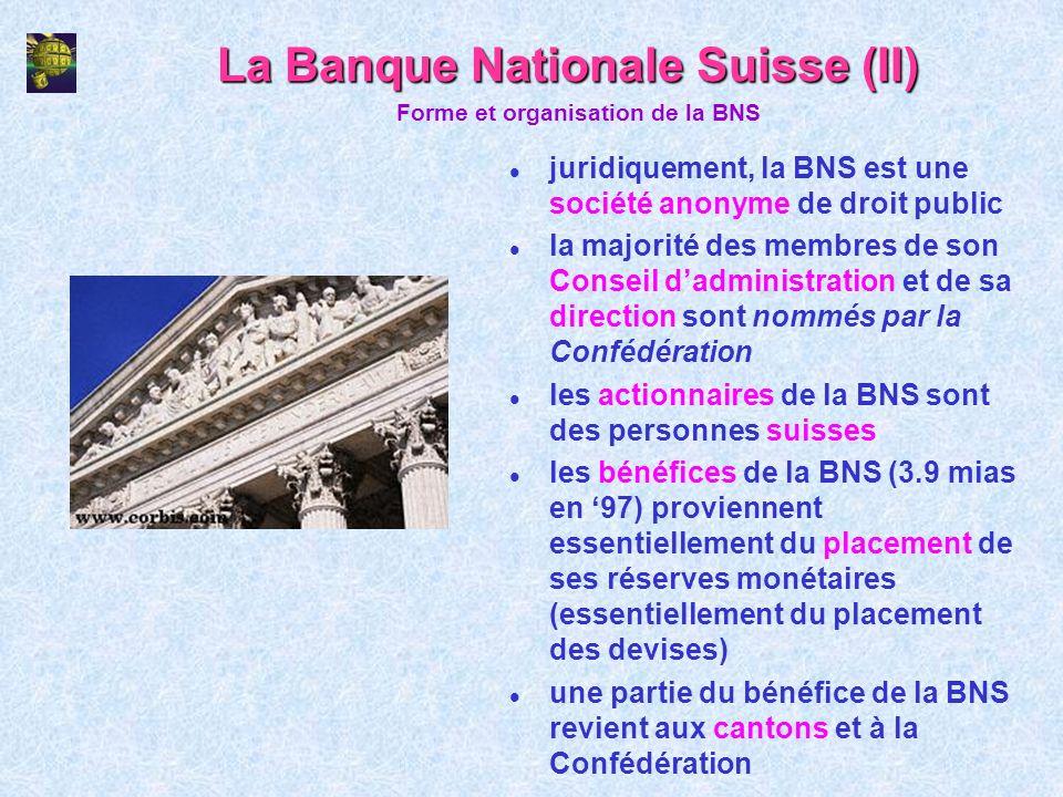 La Banque Nationale Suisse (II) l juridiquement, la BNS est une société anonyme de droit public l la majorité des membres de son Conseil dadministrati