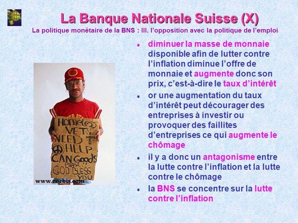 La Banque Nationale Suisse (X) l diminuer la masse de monnaie disponible afin de lutter contre linflation diminue loffre de monnaie et augmente donc s