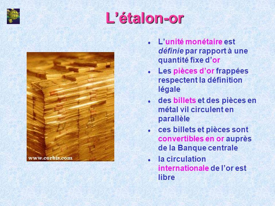 Létalon-or l Lunité monétaire est définie par rapport à une quantité fixe dor l Les pièces dor frappées respectent la définition légale l des billets