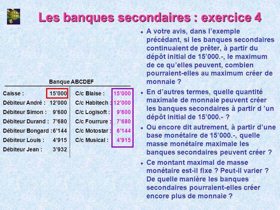 Les banques secondaires : exercice 4 l A votre avis, dans lexemple précédant, si les banques secondaires continuaient de prêter, à partir du dépôt ini