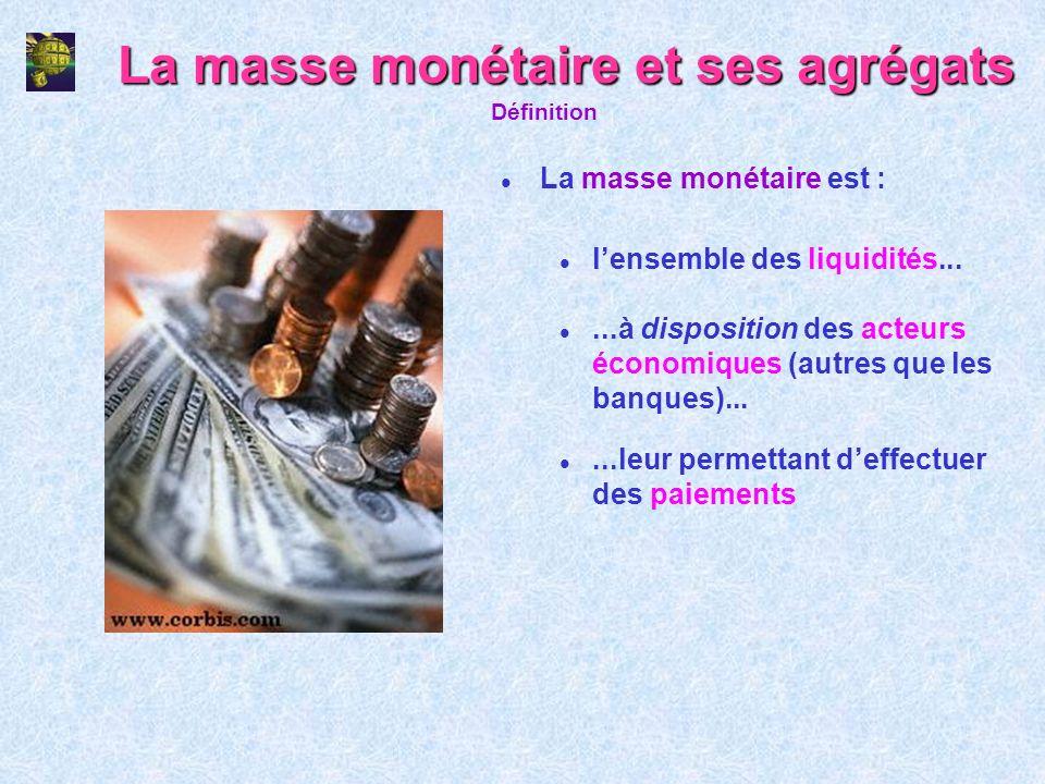 La masse monétaire et ses agrégats l La masse monétaire est : Définition l lensemble des liquidités... l...à disposition des acteurs économiques (autr