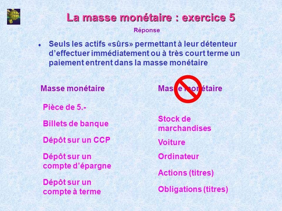 La masse monétaire : exercice 5 l Seuls les actifs «sûrs» permettant à leur détenteur deffectuer immédiatement ou à très court terme un paiement entre