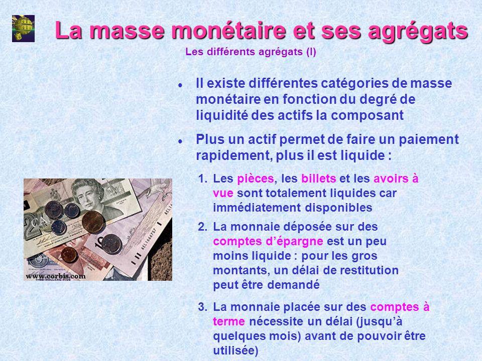 La masse monétaire et ses agrégats l Il existe différentes catégories de masse monétaire en fonction du degré de liquidité des actifs la composant Les