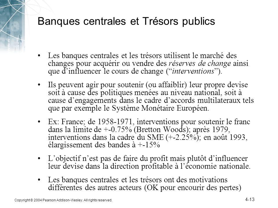 Copyright © 2004 Pearson Addison-Wesley. All rights reserved. 4-13 Banques centrales et Trésors publics Les banques centrales et les trésors utilisent