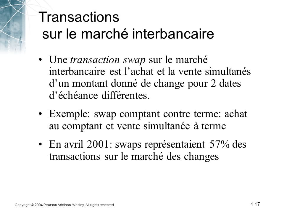 Copyright © 2004 Pearson Addison-Wesley. All rights reserved. 4-17 Transactions sur le marché interbancaire Une transaction swap sur le marché interba