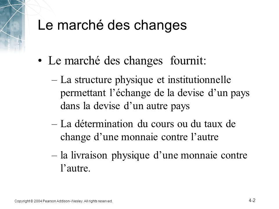 Copyright © 2004 Pearson Addison-Wesley. All rights reserved. 4-2 Le marché des changes Le marché des changes fournit: –La structure physique et insti
