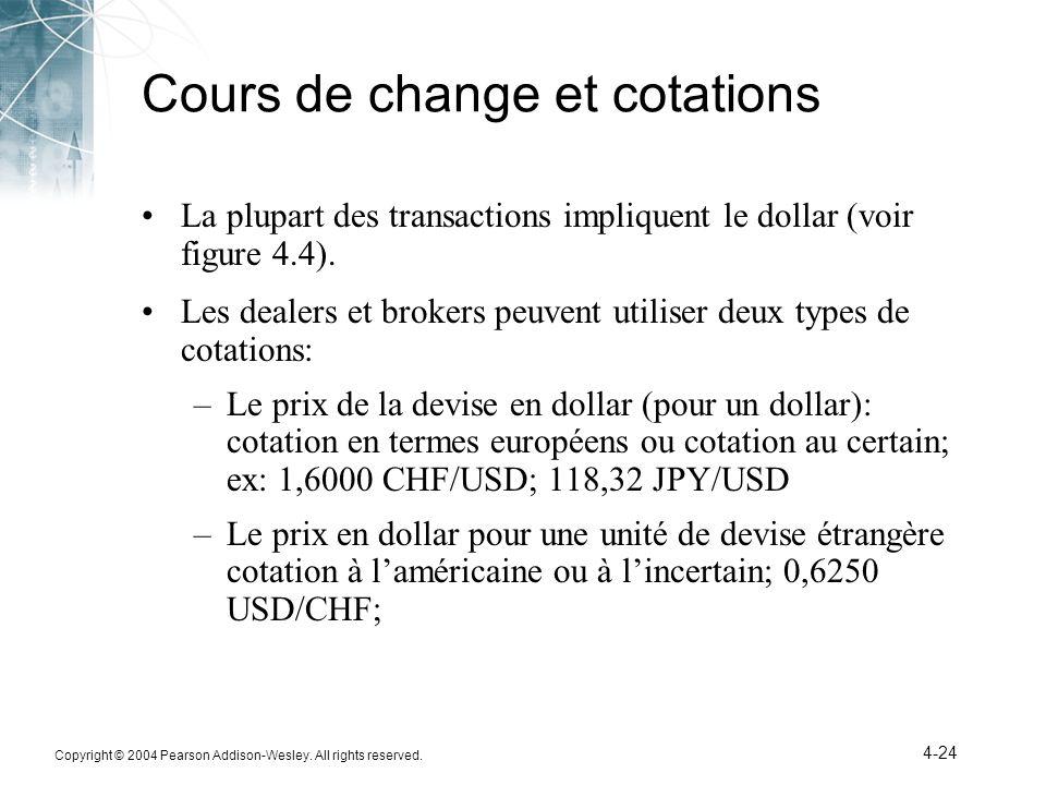 Copyright © 2004 Pearson Addison-Wesley. All rights reserved. 4-24 Cours de change et cotations La plupart des transactions impliquent le dollar (voir