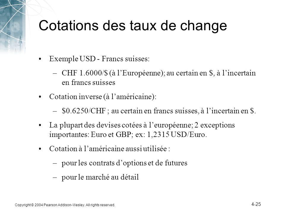 Copyright © 2004 Pearson Addison-Wesley. All rights reserved. 4-25 Cotations des taux de change Exemple USD - Francs suisses: –CHF 1.6000/$ (à lEuropé