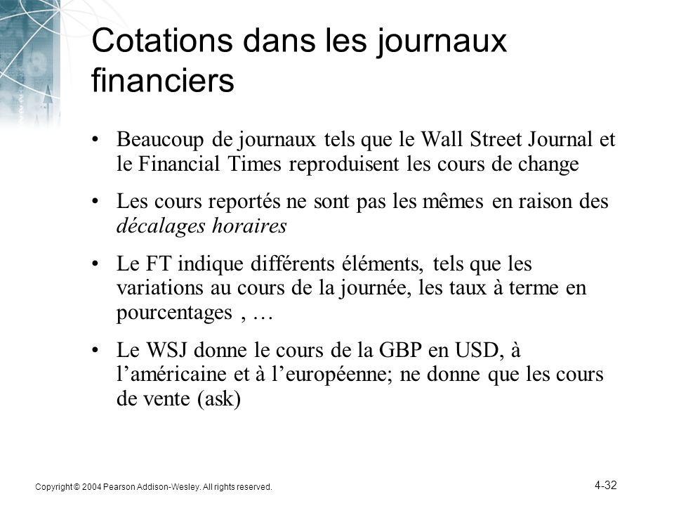 Copyright © 2004 Pearson Addison-Wesley. All rights reserved. 4-32 Cotations dans les journaux financiers Beaucoup de journaux tels que le Wall Street