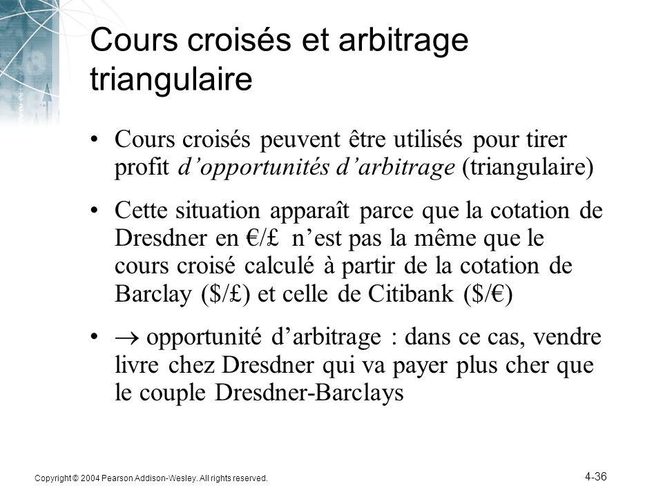 Copyright © 2004 Pearson Addison-Wesley. All rights reserved. 4-36 Cours croisés et arbitrage triangulaire Cours croisés peuvent être utilisés pour ti