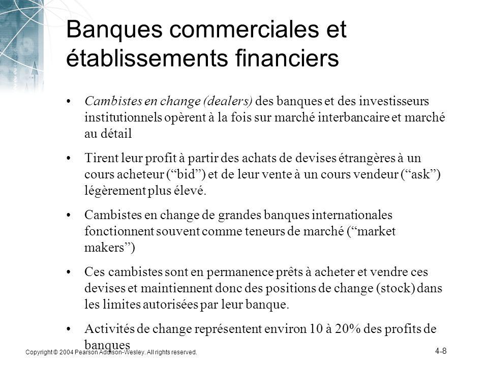 Copyright © 2004 Pearson Addison-Wesley. All rights reserved. 4-8 Banques commerciales et établissements financiers Cambistes en change (dealers) des