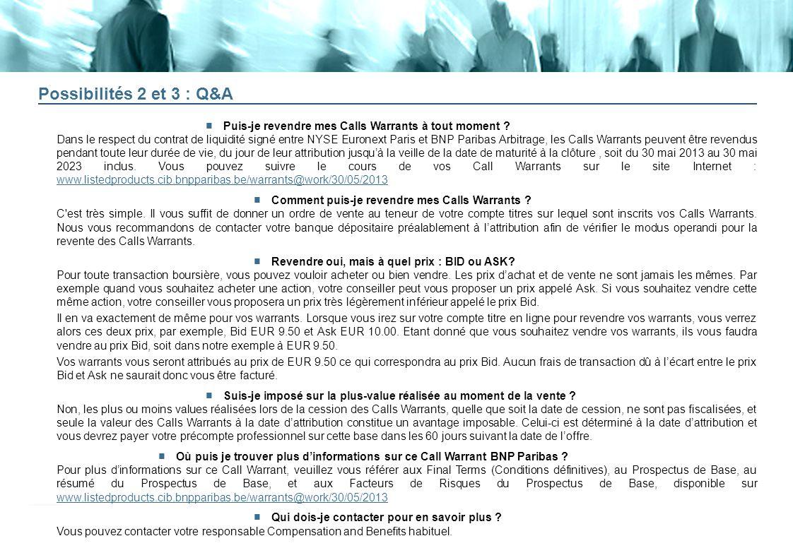 20 Possibilités 2 et 3 : Q&A Puis-je revendre mes Calls Warrants à tout moment ? Dans le respect du contrat de liquidité signé entre NYSE Euronext Par