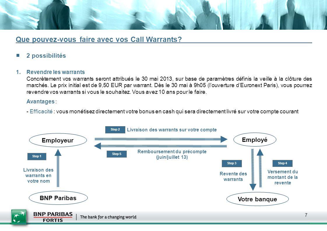 7 Que pouvez-vous faire avec vos Call Warrants? 2 possibilités 1.Revendre les warrants Concrètement vos warrants seront attribués le 30 mai 2013, sur