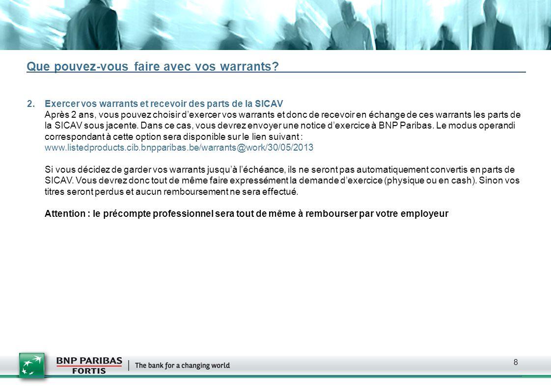 9 Nombre de warrants attribués Le 29 mai 2013, après la fermeture des marchés à 17h30, BNP Paribas déterminera le prix dexercice des warrants et la parité (nombre de warrants requis pour acheter une part de SICAV) de façon à garantir que le prix initial du warrant soit de EUR 9,50.