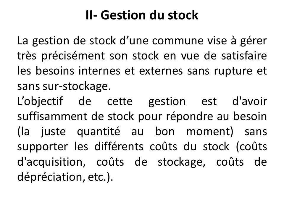 II- Gestion du stock La gestion de stock dune commune vise à gérer très précisément son stock en vue de satisfaire les besoins internes et externes sa